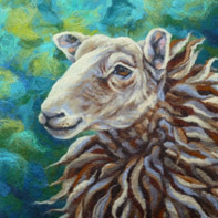felted picture of a sheep by Ali Scott